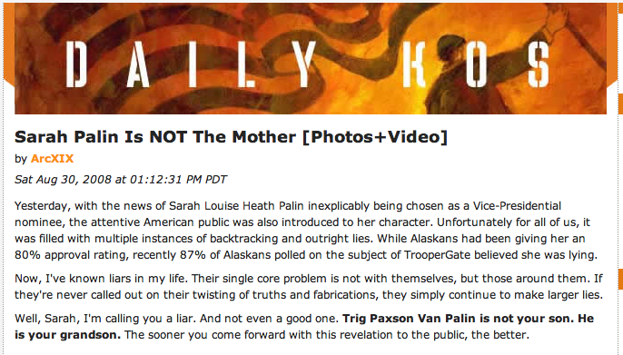 Daily Kos Governor Sarah Palin Rumor Post