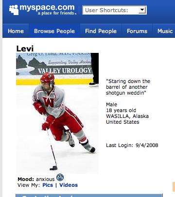 levi johnston fake myspace page
