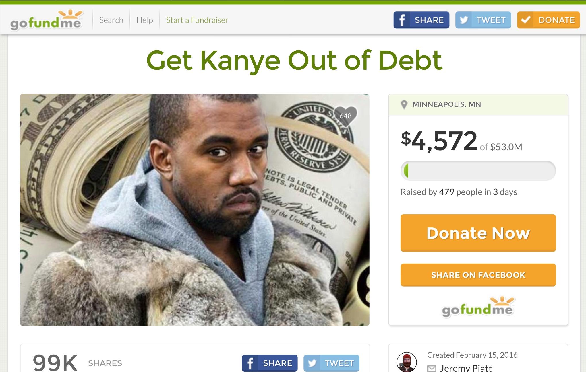Kanye GoFundMe page