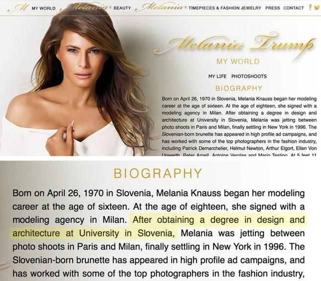 Melanis Trump deleted webpage